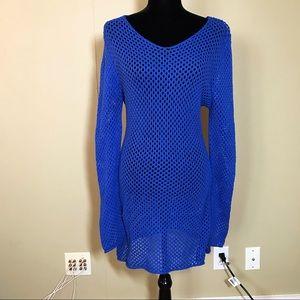 NEW blue mesh knee length dress